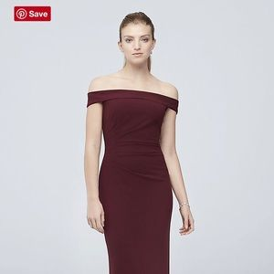 Off-the-Shoulder Stretch Crepe Ruched Dress